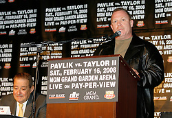 December 11, 2007; New York, NY, USA;  Jack Loew, trainer of Kelly Pavlik, speaks at the press conference announcing the rematch between Unbeaten World Middleweight Champion Kelly Pavlik and former champion Jermain Taylor, which will take place Saturday, February 16, 2008, at MGM Grand in Las Vegas, NV.  Taylor missed attending the press conference due to the birth of his baby girl on Monday evening.