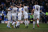 Tranmere Rovers players celebrate their teams 2nd goal scored by James Wallace.  Skybet football league 1match, Tranmere Rovers v Coventry city at Prenton Park in Birkenhead, England on Saturday 22nd Feb 2014.<br /> pic by Chris Stading, Andrew Orchard sports photography.