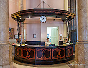 The front desk in the Art Nouveau lobby of the jewish Hotel Raquel built in 1908 and located in the old jewish neigborhood old Havana.