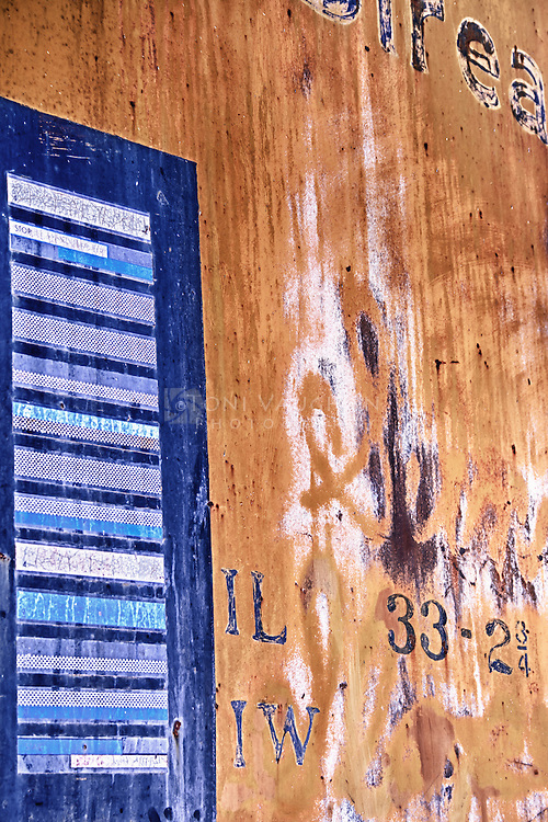 Close up of side of train car
