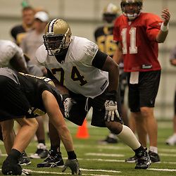 10 August 2009: New Orleans Saints offensive tackle Jermon Bushrod (74) lines up on a play during New Orleans Saints training camp at the team's indoor practice facility in Metairie, Louisiana.