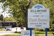 MAY 14, 2010: American Idol contestant Crystal Bowersox hometown post a sign at the towns edge. Elliston, OH