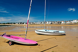Sailboats on beach at Elie in Fife Scotland