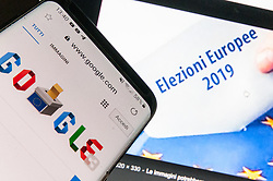 May 26, 2019 - Rome, italy, Italy - This photo illustration created on May 26, 2019 in Rome, Italy, shows the logo of the US multinational technology company Google concerning the vote In  the EU Elections in twenty-one EU countries, including Italy, are called upon to elect their own MEPs. The search engine celebrates the day with the image of an urn and the symbol of the EU. (Credit Image: © Andrea Ronchini/NurPhoto via ZUMA Press)
