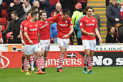 Barnsley FC celebrate goal scored by Barnsley FC midfielder Marley Watkins (15) to go 1-0  during the EFL Sky Bet Championship match between Barnsley and Ipswich Town at Oakwell, Barnsley, England on 11 March 2017. Photo by Ian Lyall.