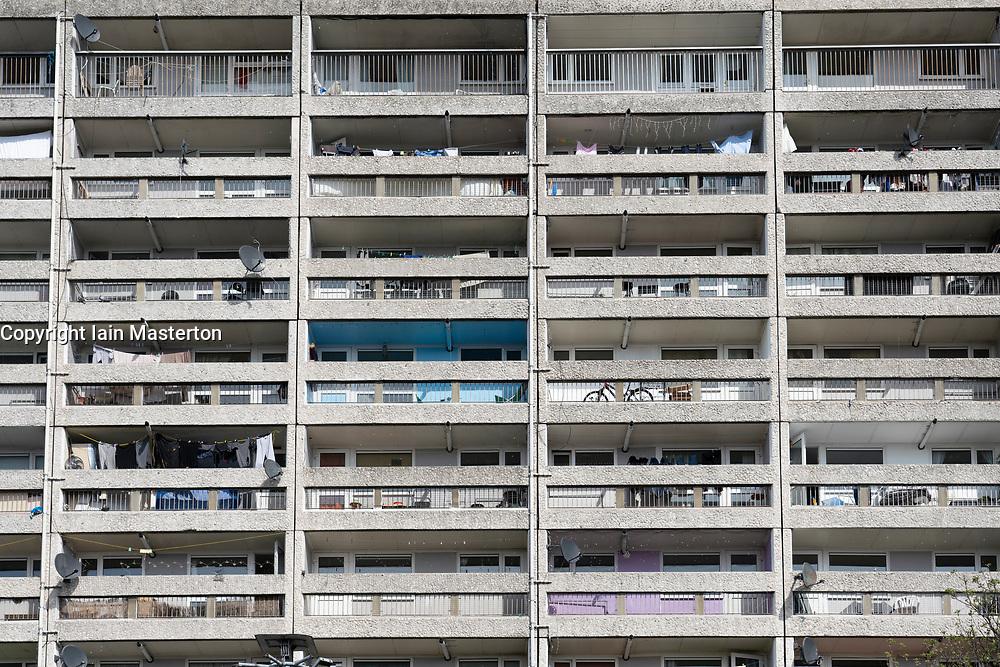 Exterior view of  apartment block  in Leith, Scotland, UK