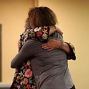 FORT LAUDERDALE, FLORIDA, NOVEMBER 2, 2018<br /> Congregants hug during family Shabbat service at Temple Bat Yam of East Fort Lauderdale. The reform congregation of 220 families was congregating for the first time since the deadly shooting in Pittsburgh on October 27.<br /> (Photo by Angel Valentin/Freelance)