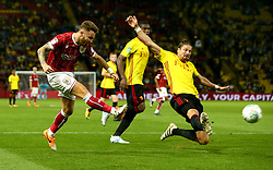 Matty Taylor of Bristol City shoots at goal - Mandatory by-line: Robbie Stephenson/JMP - 22/08/2017 - FOOTBALL - Vicarage Road - Watford, England - Watford v Bristol City - Carabao Cup