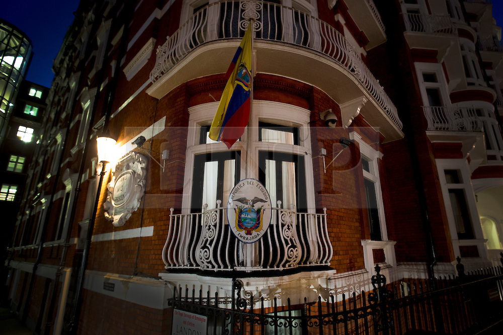 © Licensed to London News Pictures. 04/02/2016. London, UK. Lights burn at night at the Ecuadorian Embassy where the Wikileaks founder is living.  A United Nations panel is due to decide if Julian Assange has been kept in 'unlawful detention' during his stay at the embassy for the past three-and-a-half-years. Photo credit: Peter Macdiarmid/LNP