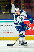 KELOWNA, BC - OCTOBER 16:  Ethan Regnier #18 of the Swift Current Broncos warms up with the puck against the Kelowna Rockets at Prospera Place on October 16, 2019 in Kelowna, Canada. (Photo by Marissa Baecker/Shoot the Breeze)