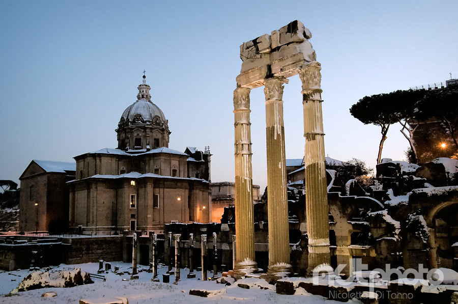 A view of the Roman forum at sunset after the snowfall in February 2012
