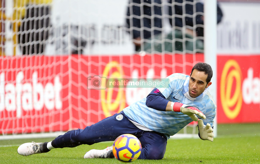 Manchester City goalkeeper Claudio Bravo warms up before the Premier League match at Turf Moor, Burnley.