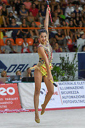 July 28, 2018 - Chieti, Abruzzo, Italy - Rhythmic gymnast Alexandra Agiurgiuculese of Italy performs her clubs routine during the Rhythmic Gymnastics pre World Championship Italy-Ukraine-Germany at Palatricalle on 29th of July 2018 in Chieti Italy. (Credit Image: © Franco Romano/NurPhoto via ZUMA Press)