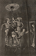 Miners descending a shaft standing on rim of a tub, holding on to the chains it is hanging by.  They are carrying safety lamps. From  'Underground Life; or, Mines and Miners' by Louis Simonin (London, 1869). Wood engraving.