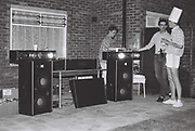 DJ at garden party, London, UK, 1983