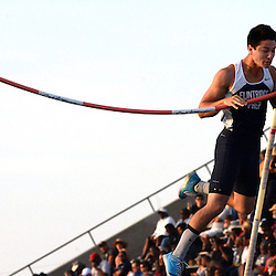 Flintridge Prep's Barrett Weiss misses at 16:03 in the pole vault during the CIF-SS Masters track and field meet in Falcon Stadium at Cerritos College in Norwalk, Calif., on Friday, May 29, 2015. He would win with a jump of 15-09.00.