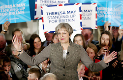File photo dated 29/04/17 of Prime Minister Theresa May on the election campaign trail in the village of Crathes, Aberdeenshire. The Prime Minister's leadership has been at the front and centre of branding that has decorated the stump speeches and visits she has made over the last month.