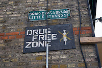 Community Anti-drugs sign in Dublin's inner city in Ireland