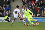 Brighton striker Jiri Skalak (38) and Milton Keynes Dons midfielder Josh Murphy (31) during the Sky Bet Championship match between Milton Keynes Dons and Brighton and Hove Albion at stadium:mk, Milton Keynes, England on 19 March 2016.