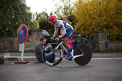Carmen Small (USA) of Cervélo-Bigla Cycling Team digs deep at the top of the first climb of the 2.8km time trial prologue of Elsy Jacobs - a stage race in Luxembourg in Luxembourg on April 29, 2016 in Luxembourg.