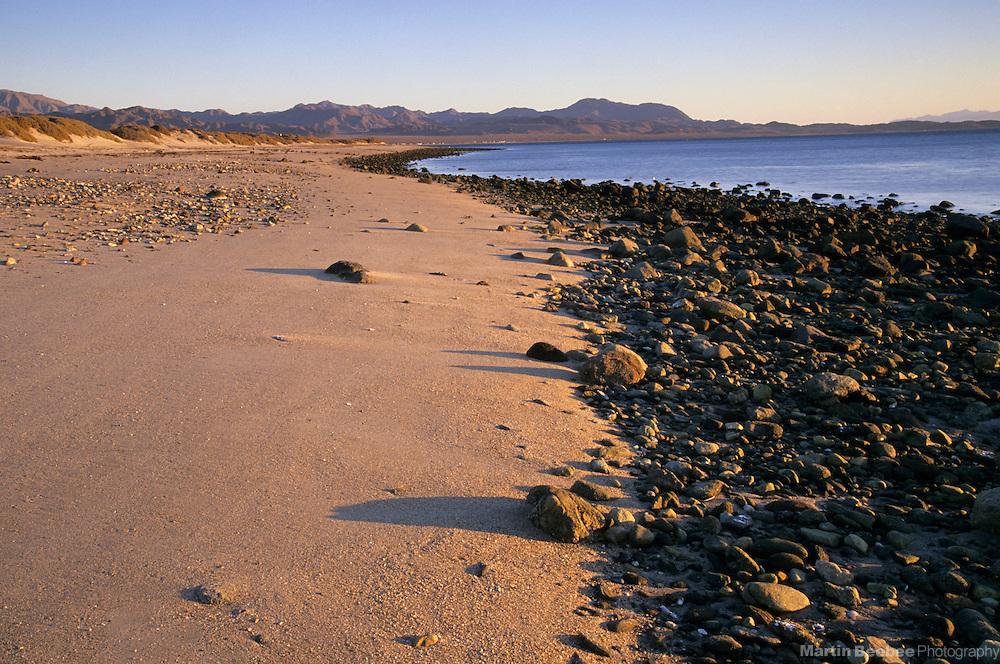 Morning light and rocks along the beach at low tide, Bahia de los Angeles, Baja California, Mexico