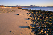 Morning light and rocks along the beach at low tide, Bahia de los Angeles, Baja California, Mexico