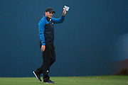 Eddie Pepperell of England acknowledges the crowd after winning the British Masters 2018 at Walton Heath Golf Course, Walton On the Hill, Surrey on 14 October 2018. Picture by Martin Cole.