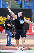 Joe Kovacs (USA) places fourth in the shot put at 70-5 (21.46m)during the 39th Golden Gala Pietro Menena in an IAAF Diamond League meet at Stadio Olimpico in Rome on Thursday, June 6, 2019. (Jiro Mochizuki/Image of Sport)
