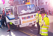 Police officers present at the First Criminal Justice March. Trafalgar Square, London, UK. 1st of May 1994.