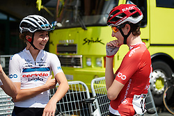 Cecilie Uttrup Ludwig (DEN) and Nicole Hanselmann (SUI) share a joke at sign on at Emakumeen Bira 2018 - Stage 4, a 120 km road race starting and finishing in Durango, Spain on May 22, 2018. Photo by Sean Robinson/Velofocus.com
