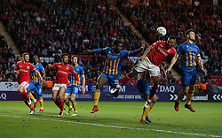 Josh Magennis of Charlton Athletic heads the ball towards goal - Mandatory by-line: Paul Terry/JMP - 10/05/2018 - FOOTBALL - The Valley - Charlton, London, England - Charlton Athletic v Shrewsbury Town - Sky Bet League One
