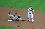 June 14 2011; Phoenix, AZ, USA; San Francisco Giants baserunner Pablo Sandoval (48) is tagged out by short stop Stephen Drew (6) during the first inning at Chase Field. Mandatory Credit: Jennifer Stewart-US PRESSWIRE..