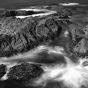 Crashing Waves Over Rocks - Russian Gulch - Mendocino, CA - Black & White
