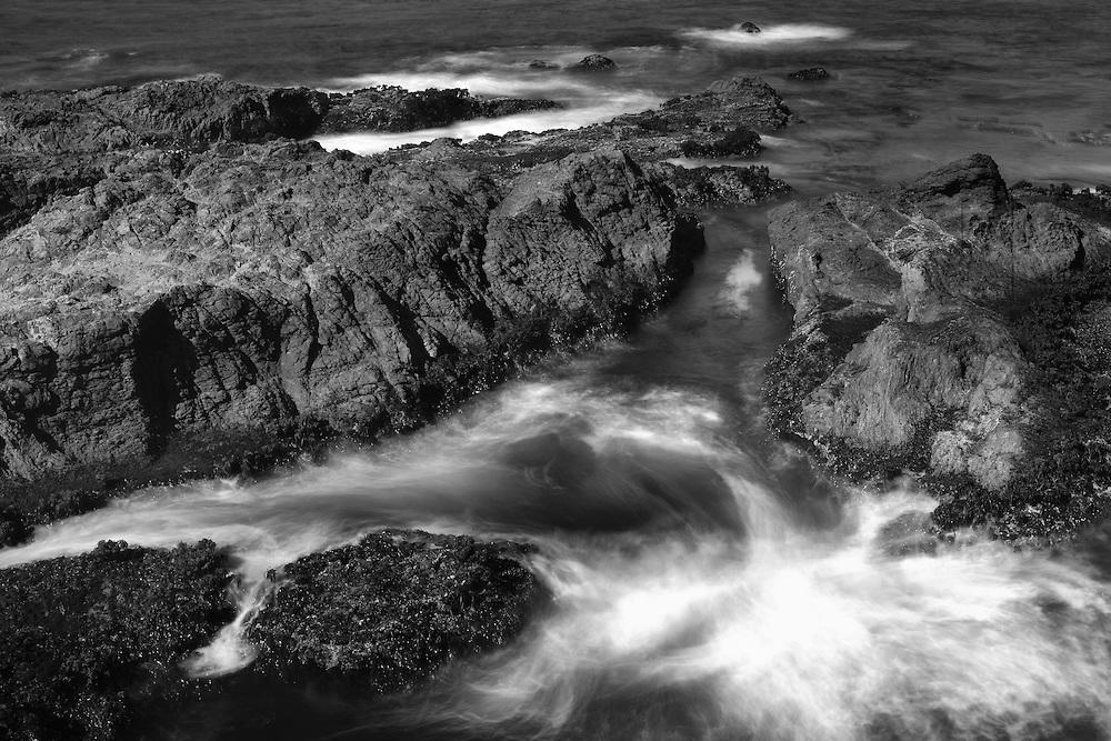 Crashing Waves Over Rocks - Russian Gulch - Mendocino, CA - Black & White