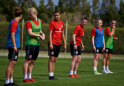 LARNACA, CYPRUS - Thursday, March 1, 2018: Wales' Amina Vine and Helen Ward during a training session in Larnaca on day three of the Cyprus Cup tournament. (Pic by David Rawcliffe/Propaganda)