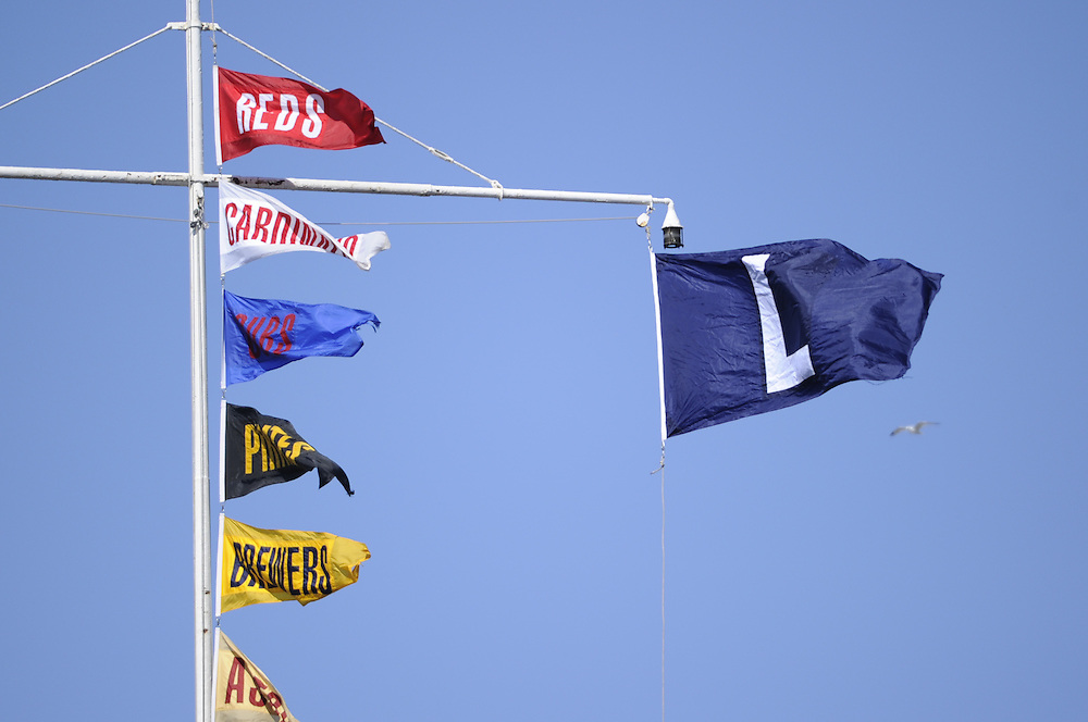CHICAGO - MAY  28:  The L flag flies above the scoreboard at Wrigley Field, signifing a Chicago Cubs loss, after the game between the St. Louis Cardinals and Chicago Cubs on May 28, 2010 at Wrigley Field in Chicago, Illinois.  The Cardinals defeated the Cubs 7-1.  (Photo by Ron Vesely)