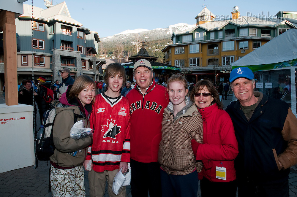 Minette Fawcett and family in Whistler during the 2010 Olympic Winter Games in Whistler, BC Canada.