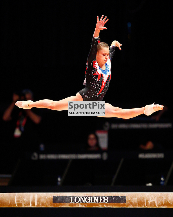 2015 Artistic Gymnastics World Championships being held in Glasgow from 23rd October to 1st November 2015..Claire Martin (France) competing in the Balance Beam competition...(c) STEPHEN LAWSON | SportPix.org.uk