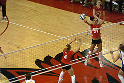 12 November 2006: Erin Lindsey sets the ball for Katie Seyller. In the final regular season home game at ISU, the Northern Iowa Panthers defeated the Illinois State Redbirds 3 game to 1. The match took place at Redbird Arena on the campus of Illinois State University in Normal Illinois.