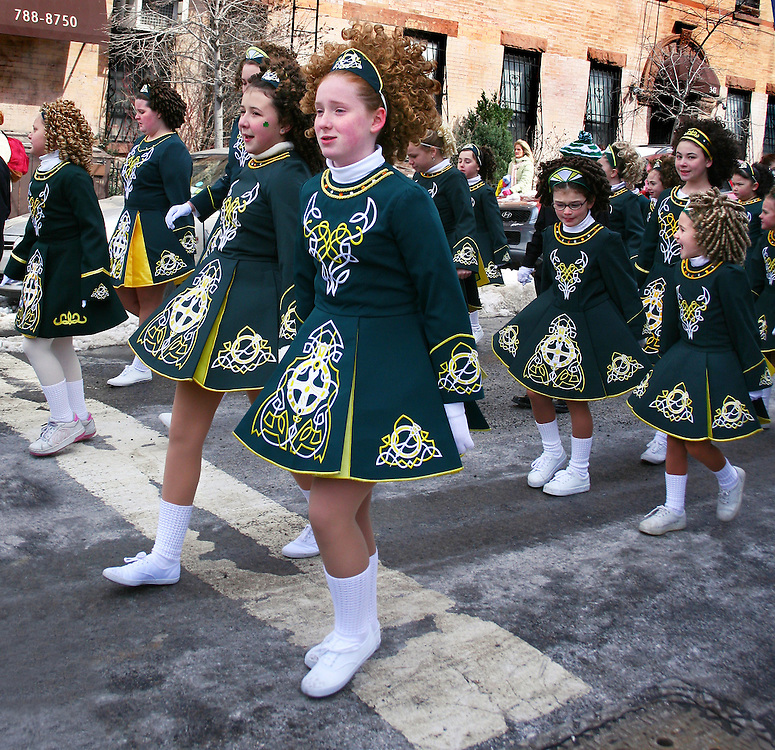 Young Irish girls at the local Saint Patrick's Day parade. Freezing!