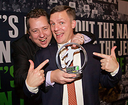 LONDON, ENGLAND - Tuesday, December 8, 2015: The Anfield Wrap's John Gibbons and Gareth Roberts at the Football Supporters' Federation Awards Dinner 2015 at the St. Pancras Renaissance Hotel. (Pic by David Rawcliffe/Propaganda)