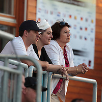 05 June 2010: Julien Leseur, Stéphanie Raulet and Sylvie Becquey  are seen watching the game and cheering for Rouen during the 2010 Baseball European Cup match won 10-0 by Fortitudo Bologna over the Rouen Huskies, at the AVG Arena, in Brno, Czech Republic.