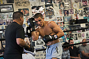 June 8, 2017 / Hollywood, Calif.<br /> <br /> Aaron Pico spars with his long-time boxing coach Dominic Viloria at the legendary Wild Card Boxing Club in Hollywood. (Melissa Lyttle for ESPN)