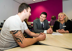 Pictured: Jamie Hepburn meets Ryan Muir and Liz Roberts<br /> <br /> Today, Minister for employability and training, Jamie Hepburn MSP visited Remploy in Edinburgh where he announced new employment services funding. Mr Hepburn gave details on cash which will develop new ways of supporting the Scottish Government's new devolved employment services. <br /> <br /> Ger Harley | EEm 21 December 2016