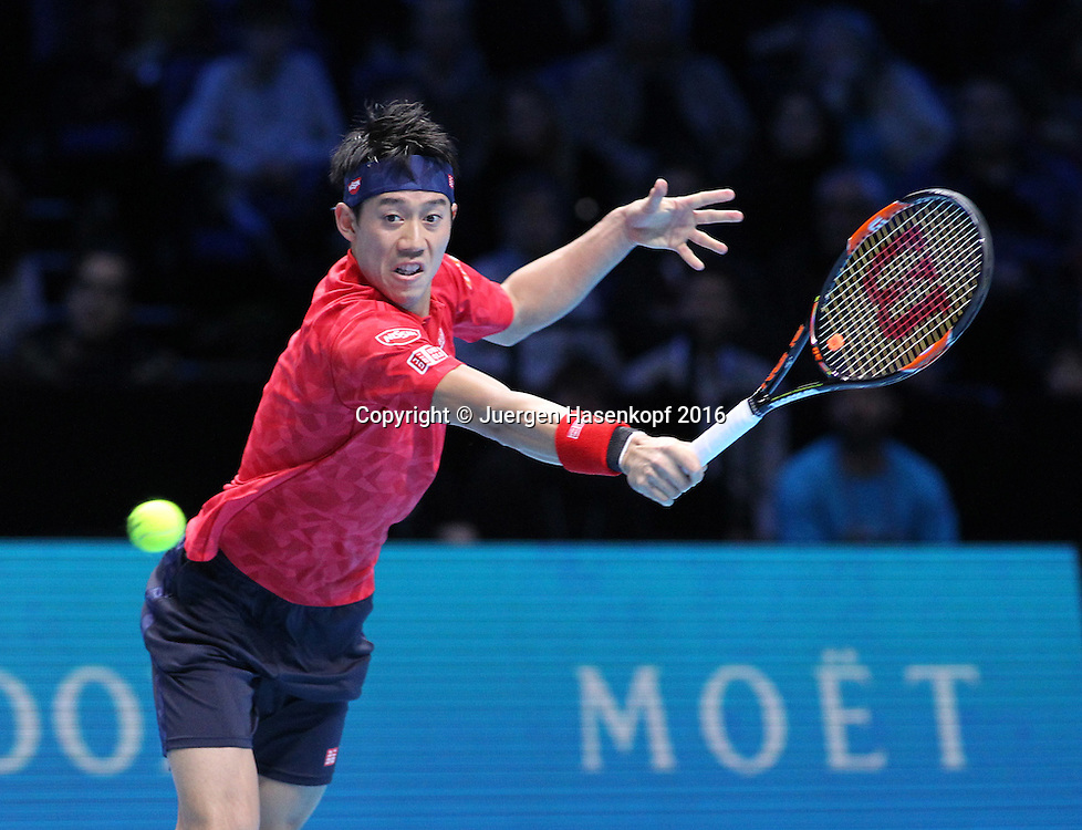 KEI NISHIKORI (JPN), ATP World Tour Finals, O2 Arena, London, England.<br /> <br /> Tennis - ATP World Tour Finals 2016 - ATP -  O2 Arena - London -  - Great Britain  - 18 November 2016. <br /> &copy; Juergen Hasenkopf/Grieves