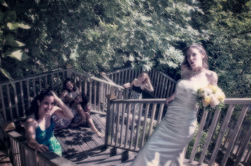 """The happy bride and her """"girls"""" having fun in front of the camera."""