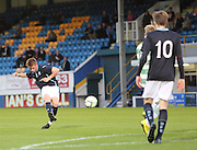 Dundee's Calvin Colquhoun fires in a shot  - Celtic v Dundee  SPFL Development League at Cappielow<br /> <br />  - &copy; David Young - www.davidyoungphoto.co.uk - email: davidyoungphoto@gmail.com