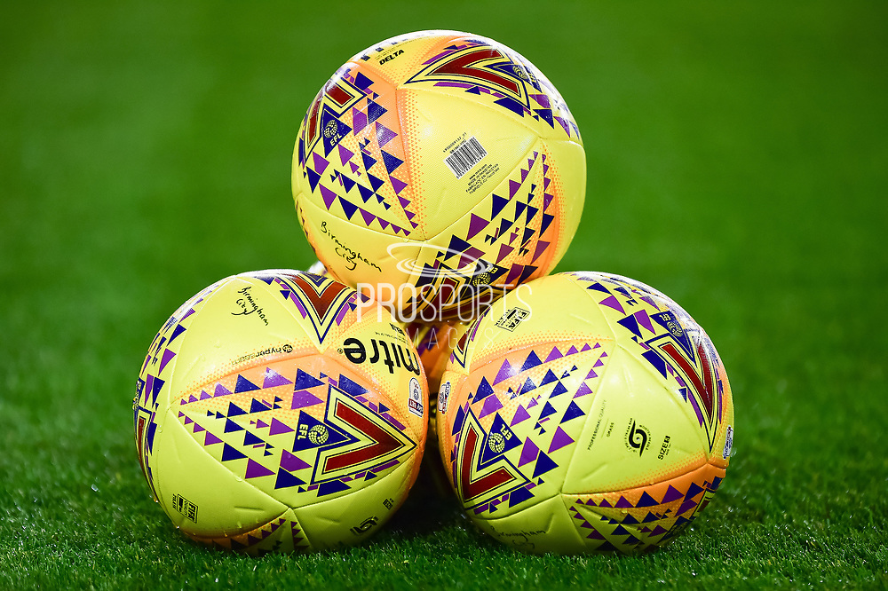 Yellow EFL Mitre Match Balls on the pitch during the EFL Sky Bet Championship match between Birmingham City and Brentford at St Andrews, Birmingham, England on 1 November 2017. Photo by Dennis Goodwin.