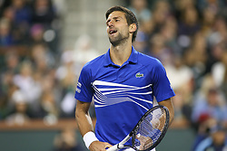 March 9, 2019 - Indian Wells, CA, U.S. - INDIAN WELLS, CA - MARCH 09: Novak Djokovic (SRB) reacts to a point during the BNP Paribas Open on March 9, 2019 at Indian Wells Tennis Garden in Indian Wells, CA. (Photo by George Walker/Icon Sportswire) (Credit Image: © George Walker/Icon SMI via ZUMA Press)