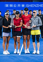 SHENZHEN, Jan. 5, 2019  Peng Shuai (2nd L)Yang Zhaoxuan (1st L) and Duan Yingying (2nd R) Renata Voracova pose on the awarding ceremony after their women's doubles final match at the WTA Shenzhen Open tennis tournament in Shenzhen, south China's Guangdong Province, Jan. 5, 2019. Peng and Yang won 2-0 and claimed the title. (Credit Image: © Xinhua via ZUMA Wire)